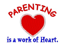 Parenting Work of Heart embroidery design