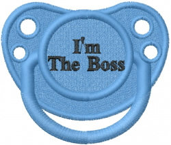 Pacifier Im The Boss embroidery design
