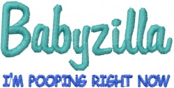 Babyzilla Pooping embroidery design
