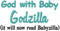 Babyzilla embroidery design