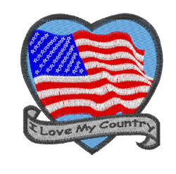 I Love My Country embroidery design