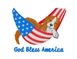 God Bless America Dog embroidery design