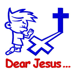 Boy Praying Dear Jesus embroidery design