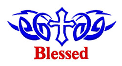 Cross Tattoo Blessed embroidery design