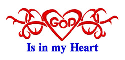 God is in My Heart embroidery design