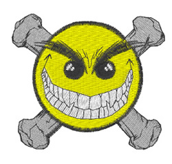 Crossbones Smiley embroidery design