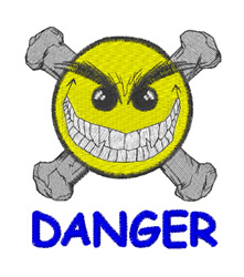 Crossbones Smiley Danger embroidery design