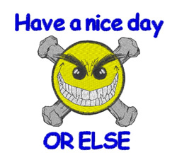 Crossbones Smiley Nice Day embroidery design