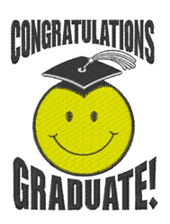 Graduation Smiley embroidery design