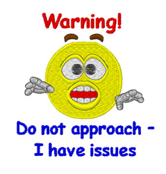 Smiley Warning embroidery design