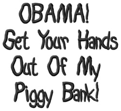 Obama Piggy Bank embroidery design