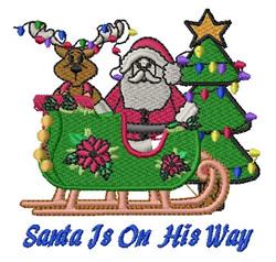 Santa On His Way embroidery design