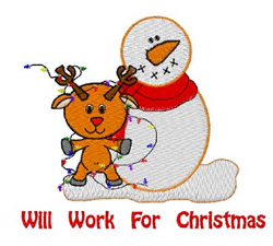 Will Work For Christmas embroidery design