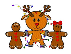 Gingerbread And Rudolph embroidery design