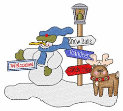 Snowman Scene embroidery design