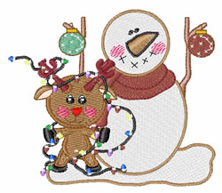 Reindeer And Snowman embroidery design