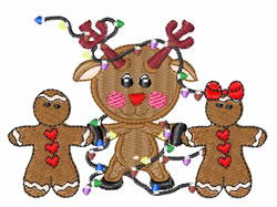 Gingerbread And Reindeer embroidery design