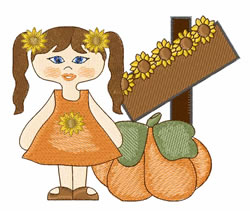 Pumpkin Girl embroidery design