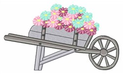 Flowers in Wheelbarrow embroidery design