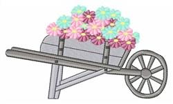 Flowers in Wheelbarrow embroidery design