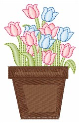Pink & Blue Tulips embroidery design