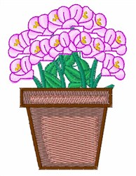 Pink Flowers in Pot embroidery design
