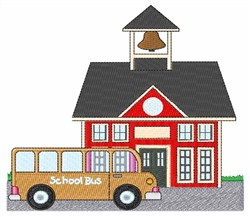 School and Bus embroidery design