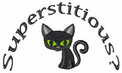 Superstitious Black Cat embroidery design