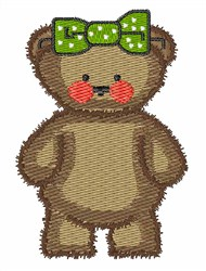 Bear with Green Bow embroidery design