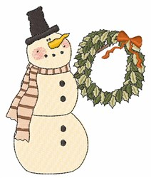 Snowman Wreath embroidery design