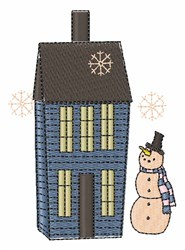 Snowman House embroidery design
