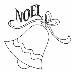 Noel Bell Outline embroidery design