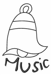 Music Bell Outline embroidery design