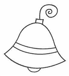 Xmas Bell Outline embroidery design