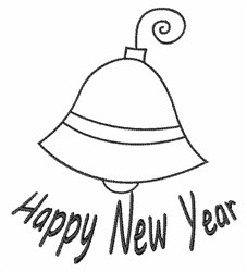 New Year Bell Outline embroidery design
