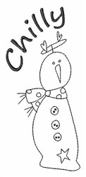 Chilly Snowman Outline embroidery design
