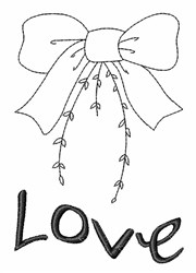 Love Bow Outline embroidery design