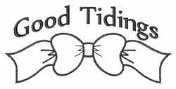 Tidings Bow Outline embroidery design