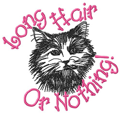 Long Hair Cat embroidery design