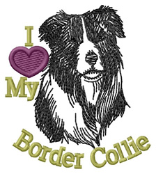 I Love My Border Collie embroidery design