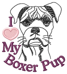 I Love My Boxer Pup embroidery design