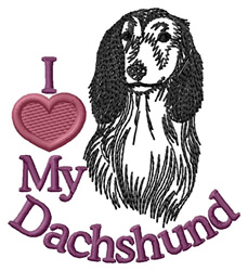 I Love My Dachshund embroidery design