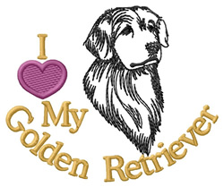 I Love My Golden Retriever embroidery design
