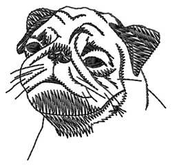 Pug embroidery design