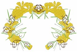 Yellow  Wreath embroidery design