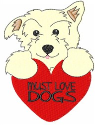 Must Love Dogs embroidery design