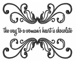 Woman & Chocolate Saying embroidery design
