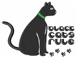 Black Cats Rule embroidery design