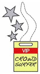 VIP Crowd Surfer embroidery design