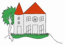 House with Red Roof embroidery design